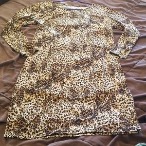 Leopard print long sleeved LuLaRoe sheath dress